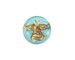 Czech Glass Aqua Gold Moon Face Button 17mm