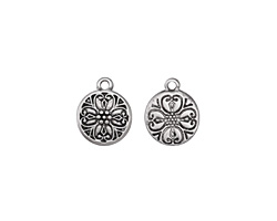 Zola Elements Antique Silver (plated) Baroque Flower Charm 11.5x14mm