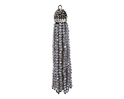 Concrete Luster Crystal Tassel w/ Hematite & Clear Crystal Pave Cap 75mm