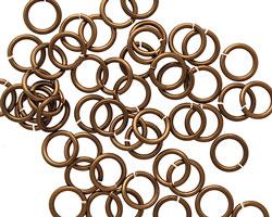 Vintage Bronze Enameled Copper Round Jump Ring 8mm, 18 gauge