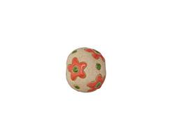 Golem Studio Coral Flowers Carved Ceramic Round Bead 12x13-14mm
