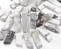 White Howlite Stick Slice Focal Set 9-11x20-35mm