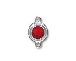 TierraCast Rhodium (plated) Stepped Bezel Link w/ Light Siam Ruby Crystal 12x17mm