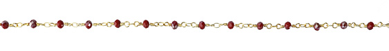 Opaque Ruby AB Crystal 4mm Gold (plated) Bead Chain