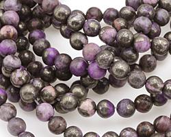 Golden Pyrite w/ Purple Quartz Round 6mm