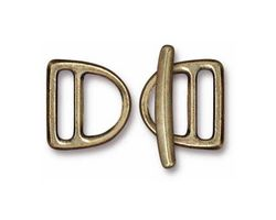 TierraCast Antique Brass (plated) 10mm Slotted D Ring Clasp Set 14x15mm, 21mm bar