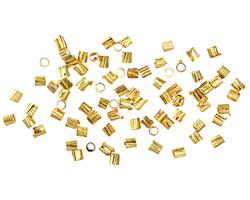 Beadalon Gold (plated) Groovy Crimp Tubes 1.8mm, 1.3mm I.D.