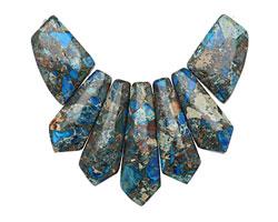 Midnight Blue Impression Jasper & Pyrite Pendant Set 20-45mm