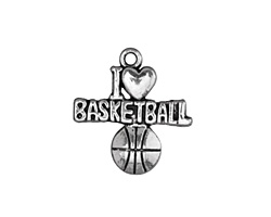 """Antique Silver (plated) """"I Love Basketball"""" Charm 21x22mm"""