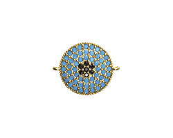Storm Mix Pave CZ Gold (plated) Coin Focal Link 18x15mm