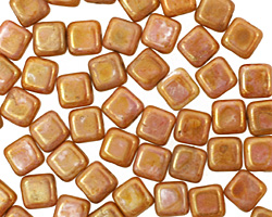 Czech Glass Opaque Rose/Gold Topaz Square 6mm