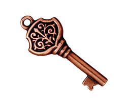 TierraCast Antique Copper (plated) Victorian Key Pendant 15x36mm