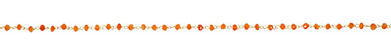 Carnelian Faceted Rondelle Gold (plated) Bead Chain