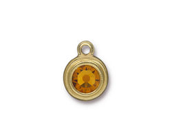 TierraCast Gold (plated) Stepped Bezel Drop w/ Topaz Crystal 12x17mm