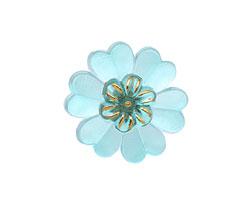 Czech Glass Azure Primrose Button 22mm