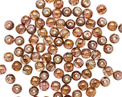 Czech Glass Luster Transparent Gold/Smoky Topaz Round 4mm