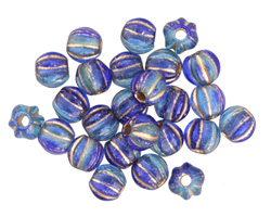 Czech Glass Blue Nile w/ Gold Large Hole Melon Round 6mm