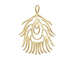 Amoracast 14K Gold (plated) Sterling Silver Peacock Feather Pendant 28x37mm
