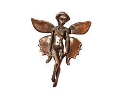 Green Girl Shibuichi Elegant Fairy Pendant 41x52mm