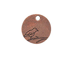 Nunn Design Antique Copper (plated) Small Circle Bird Tag 19mm