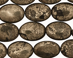 Golden Pyrite (silver tone) Flat Oval 14x10mm
