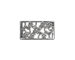 Sterling Silver Bouquet Rectangle 10mm Cord Slide 20x11mm