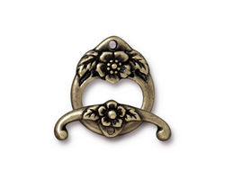 TierraCast Antique Brass (plated) Floral Toggle Clasp 20x16mm, 23mm bar