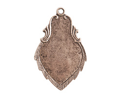 Nunn Design Antique Silver (plated) Ornate Flat Regiment Tag 23x36mm