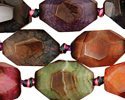 Rainbow Snakeskin Agate Faceted Rice 20-21x14-15mm