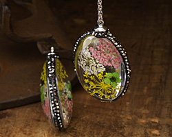 Glass Orb Oval w/ Victorian Mix & Green Flowers and Pave Crystals 25x50mm