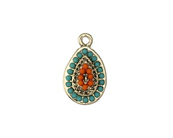Zola Elements Antique Gold (plated) Beaded Beachy Domed Teardrop Charm 11x19mm
