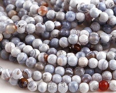 White & Blue Agate Round 6mm