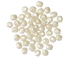 Czech Glass Ivory Luster Fire Polished Round 4mm