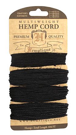 Black Hemp Twine Multi-Weight 10-20-35-48 lbs, 104 ft total