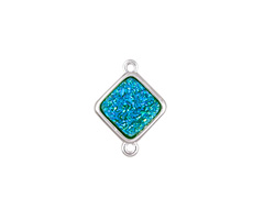 Metallic Green Turquoise Crystal Druzy Diamond Link in Silver Finish Bezel 16x12mm