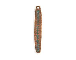 Vintaj Copper Verdigris (plated) Dotted Skinny Oval 8x49mm