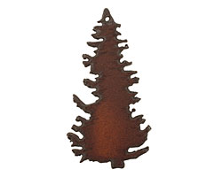 The Lipstick Ranch Rusted Iron Pine Tree Pendant 36x69mm