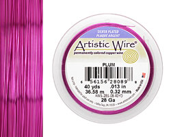 Artistic Wire Silver Plated Plum 28 gauge, 40 yards