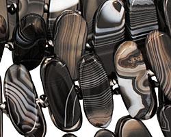 Black Sardonyx Flat Freeform Oval (side drilled) 11-16x30-40mm