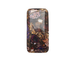 Purple Impression Jasper & Bronzite Rectangle Pendant 30x60mm