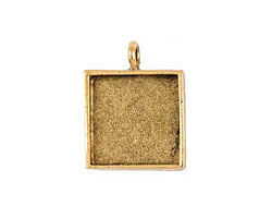 Nunn Design Antique Gold (plated) Large Square Bezel Pendant 26x34mm