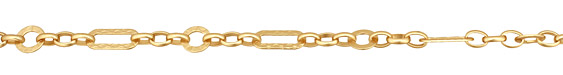 Satin Hamilton Gold (plated) Patterned Oval & Ring w/ Horse Eye Chain