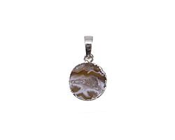 Druzy Agate Coin Pendant w/ Silver Finish 15x20mm