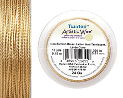 Twisted Artistic Wire Tarnish Resistant Brass 24 gauge, 10 yards
