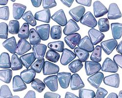 Czech Glass Luster Opaque Blue 2-Hole Nib-Bit 5x6mm