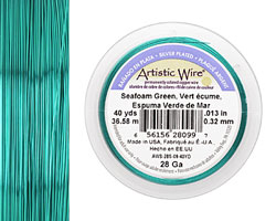 Artistic Wire Silver Plated Seafoam Green 28 gauge, 40 yards