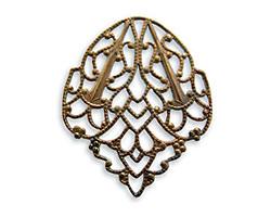 Vintaj Natural Brass Delicate Crest Filigree 28x33mm