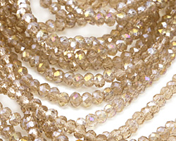 Sand AB Crystal Faceted Rondelle 3mm