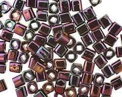 TOHO Metallic Iris Purple Cube 4mm Seed Bead
