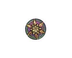 Czech Glass Pink & Green w/ Metallic Gold Starflower Button 13mm